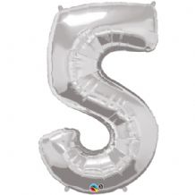 "Silver Number 5 Balloon - Foil Number Balloon 1pc (34"" Qualatex)"